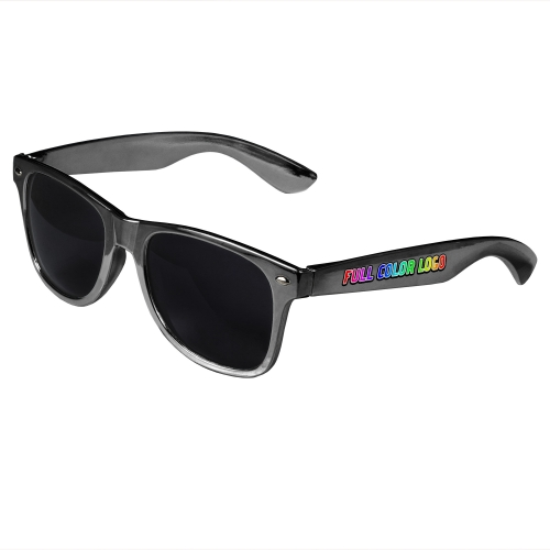 Silver Retro Sunglasses with Full-Color Side Arm Printing Customization