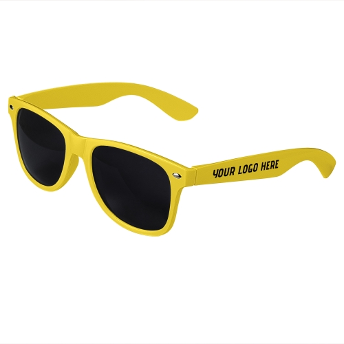 Yellow Retro Sunglasses with 1 Color Side Arm Printing Customization