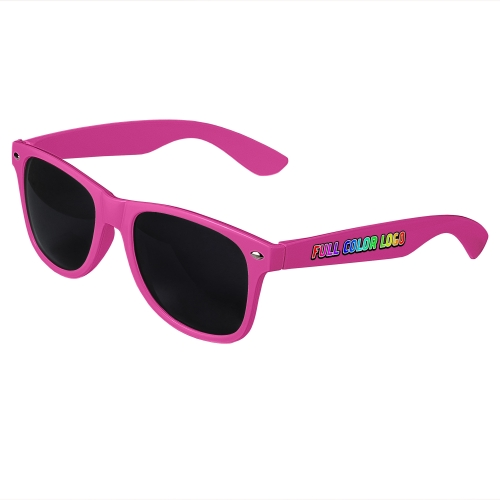 Pink Retro Sunglasses with Full-Color Side Arm Printing Customization