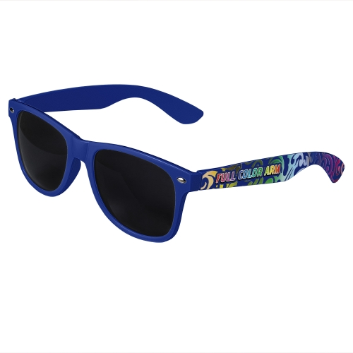 Royal Blue Retro Sunglasses with Full-Arm Full-Color Side Arm Printing Customization
